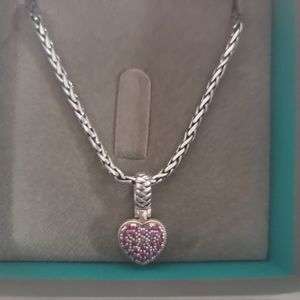 Silver and ruby heart necklace